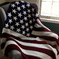 Americana Stars & Stripes Crocheted Afghan Blanket. Great Wedding, Birthday, or Military Gift. Red, White and Blue.