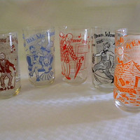 1950s barware tumblers Gay 90's songs and characters set of 5
