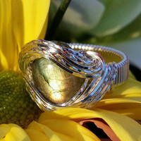 Size 8.25 Labradorite Gemstone Wire Wrapped Sterling Silver Ring