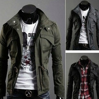 New Slim Designer Inspired Mens Jacket Colors: Black,Army green,Gray(US Size) = 1651263236