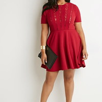 Lace-Trimmed Fit & Flare Dress