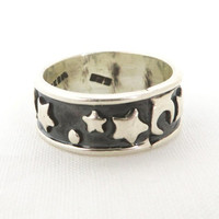 Vintage Sterling Silver Mexico Crescent Moon and Stars Ring Size 6