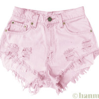 """ALL SIZES """"BLOSSOM"""" Vintage Levi high-waisted denim shorts pastel baby pink"""
