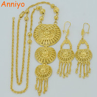 Anniyo 62CM Necklace & Earrings Dubai Gold Jewelry sets Gold Color Middle East Jewellery Turkey/Iraq/Africa/Nigeria #008212