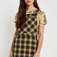 Urban Renewal Vintage Remnants Yellow Checked Pinafore Dress   Urban Outfitters