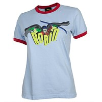 Batman - Robin Logo Juniors Ringer T-Shirt