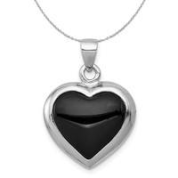 Sterling Silver, Onyx & Mother of Pearl Reversible Heart 17mm Necklace