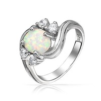 Bling Jewelry Vintage Style 925 Silver Synthetic Opal Cubic Zirconia Engagement Ring