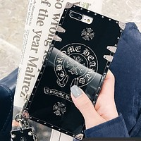 Chrome Hearts Tide brand iphone7Plus all-inclusive lanyard tag mirror phone case Black