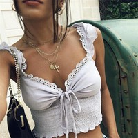 Sexy Fashion Lace Up Crop Top Short Sleeve Backless Tube Top Solid Tanks Cropped Summer Casual Tops For Women New