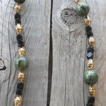 Handmade Jade Green & Gold Beaded Necklace and Earring Set