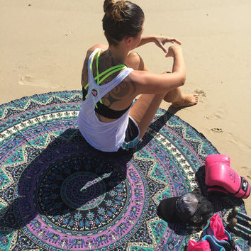 Indian Circle Mandala Round Roundie Beach Throw Tapestry Hippy Hippie Boho Gypsy Cotton Tablecloth Beach Towel ,Round Yoga Mat ,Wall Hanging