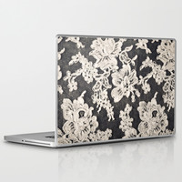 black and white lace- Photograph of vintage lace Laptop & iPad Skin by Sylvia Cook Photography | Society6