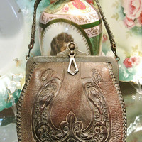 Vintage Bag Nocona Purse Arts and Crafts Hand Tooled Leather No Better Made  Circa 1920s Green Suede Lining Handbag Rustic Vintage Western
