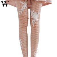 Flower Transparent Tights Women Lady Simulated Pearl Fishnet Tights Mesh Pantyhose