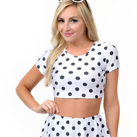 Black & White Polka Dot Ruffled Crop Top Two Piece Swimsuit