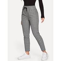 Glen Plaid Drawstring Ankle Cut Pants