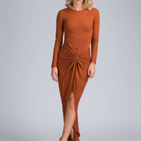 Knot So Fast Draped Faux Suede Maxi