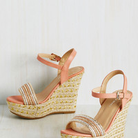 Glam on a Mission Wedge in Peach | Mod Retro Vintage Heels | ModCloth.com