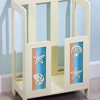 Beach Ocean Shell Decor Towel Stacker Rack Holder Bathroom Pastel Wooden NEW