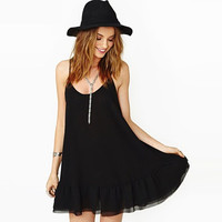 Black Strap Open-Back Ruffled Hem Dress