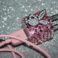 Swarovski pink Playgirl charger iphone 4 cube used by slave2beauty