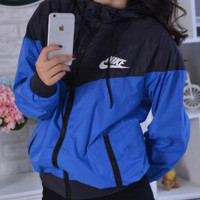 Blue NIKE Hooded Zipper Cardigan Sweatshirt Jacket Coat Windbreaker Sportswear