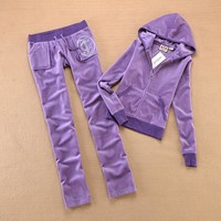 Juicy Couture Studded Luxurious Jc Velour Tracksuit 8606 2pcs Women Suits Light Purple