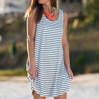 Sea You There Dress. Navy-White
