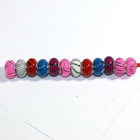12 Assorted Woodgrain Acrylic Large Hole 925 silver core Beads - Jewelry Supplies - pink, white, red, blue, purple
