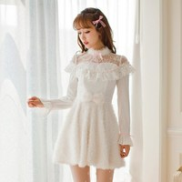 Princess sweet lolita dress Candy rain Autumn Japanese style Round collar Got-up figure Long sleeve princess dress C16CD6137