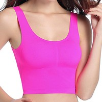 Seamfree Ice Silk Wireless Longline Sport Vest Yoga Sleeping Breathable Bras