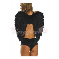 Cheap Adult Cosplay Angel Wings Halloween Fairy Costumes Black :