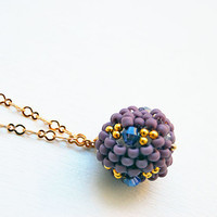 Purple necklace beaded bead gold chain choker pendant