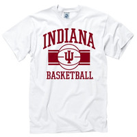 Indiana Hoosiers White Wide Stripe Basketball T-Shirt