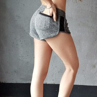 Bottom Packet Fitness Women's Short Shorts Sexy Mesh Patchwork Gray Runs Sporting Shorts Summer Quick Dry Women Clothing