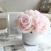 G Home Collection Light Pink Peony and Rose Mixed Flower Arrangement | Overstock.com Shopping - The Best Deals on Silk Plants