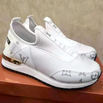 LV tide brand female models wild sports running shoes White