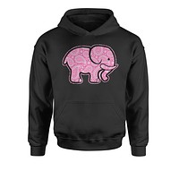 Pink Paisley Elephant Youth-Sized Hoodie