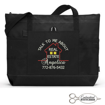 Personalized Realtor Zippered Tote Bag with Mesh Pockets, Beach Bag