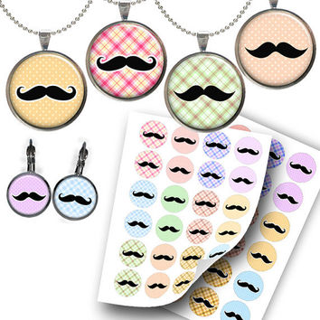 Moustache images for Jewelry Making, Scrapbooking, Bottle caps Printable TWo Digital Collage Sheet