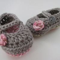 baby girl clothes, baby girl booties, baby shower gift, pink, gray, 0 to 3 months