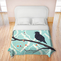 Artistic Duvets by DiaNoche Designs, Aqua Colored Song Bird