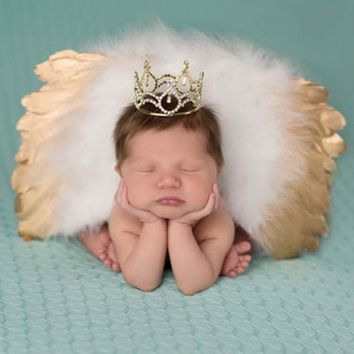 Newborn Infant Gradiant Angle Wings Photography Props - Silver & Gold