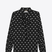 SAINT LAURENT LONG SLEEVE LAVALIERE BLOUSE IN BLACK AND WHITE IN POLKA DOT VISCOSE | YSL.COM