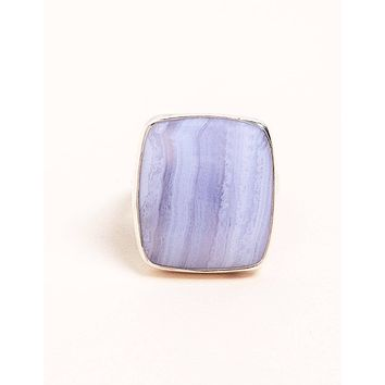 Blue Lace Agate Square Cut Ring - Adjustable