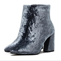 Velvet Winter Womens High Heels Boots Bottes Femmes Pointed Toe High-heeled Thick With Female Boots Shoes Boty 40 Yards