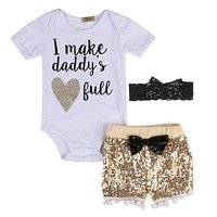 Babies Girl Summer Sequins Clothing Set 3 Pcs Toddler Newborn Baby Girl Clothes Cotton Bodysuit Tops+Shinning Shorts Outfits