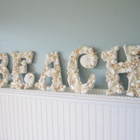 5pc Nautical Decor BEACH Shell Wall Letters - Beach Decorative Seashell Letters, 5PC
