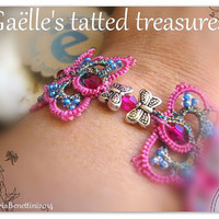 Lace bracelet 'A butterflies dance' hand tatted bracelet, fuchsia, original design lace jewels